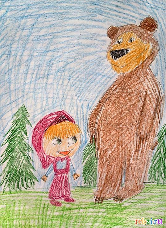 маша и медведь рисунки на белом фоне