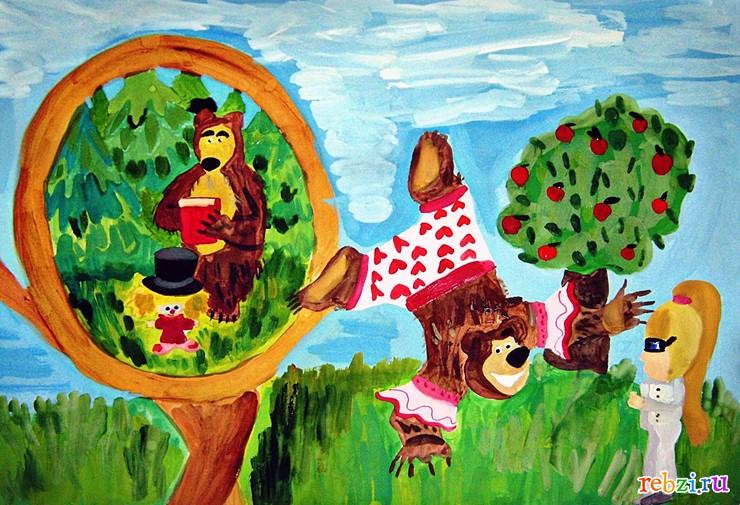 маша и медведь картина маслом: